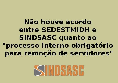 """Não houve acordo entre SEDESTMIDH e SINDSASC quanto ao """"processo interno obrigatório para remoção de servidores"""""""