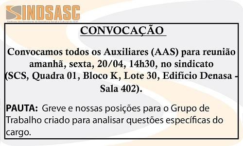 CONVOCAÇÃO - REUNIÃO AUXILIARES (AAS)