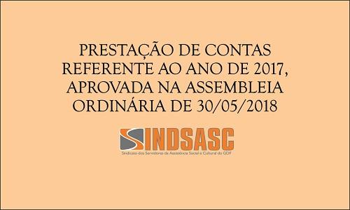 PRESTAÇÃO DE CONTAS REFERENTE AO ANO DE 2017, APROVADA NA ASSEMBLEIA ORDINÁRIA DE 30/05/2018