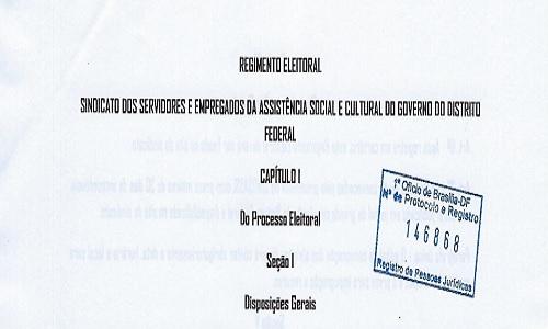 REGIMENTO ELEITORAL - SINDSASC