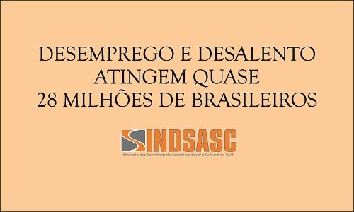 DESEMPREGO E DESALENTO ATINGEM QUASE 28 MILHÕES DE BRASILEIROS
