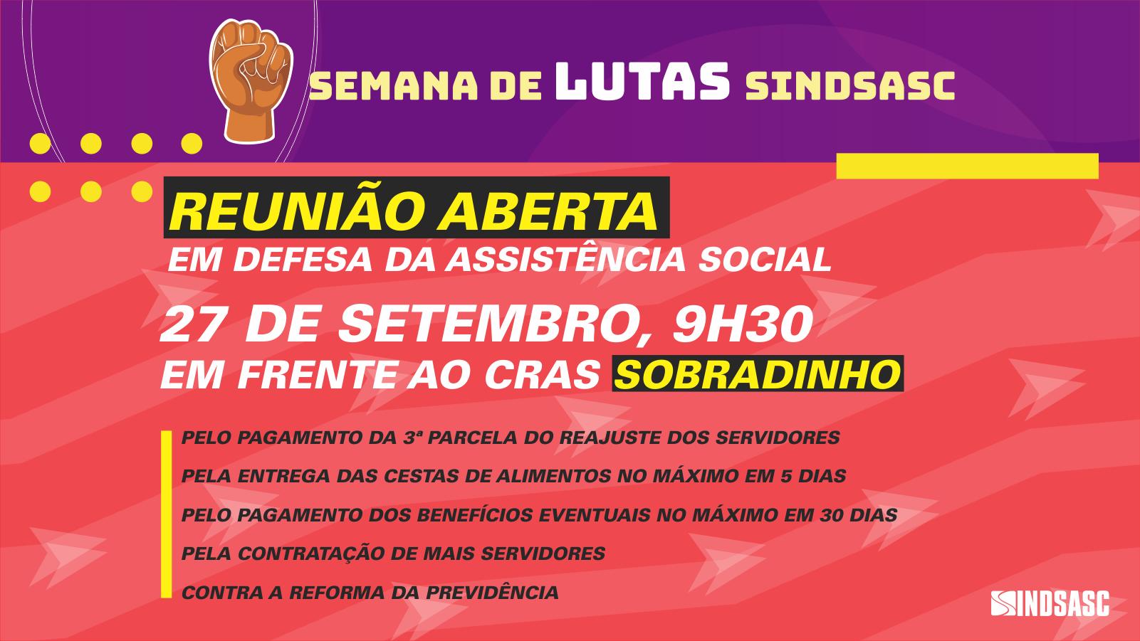 Sobradinho recebe reunião aberta do Sindsasc em 27 de setembro