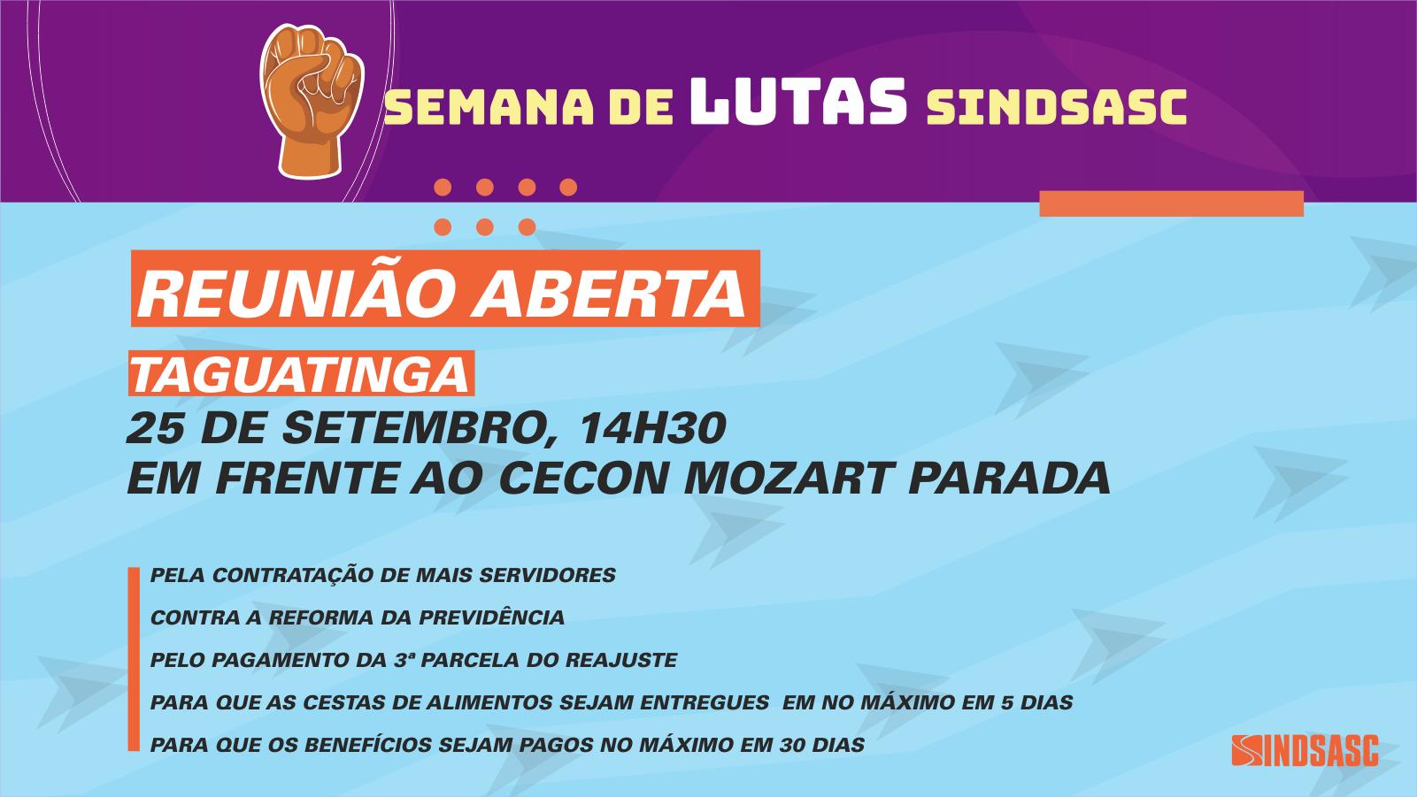 Sindsasc  faz reunião aberta em Taguatinga no dia 25 de setembro