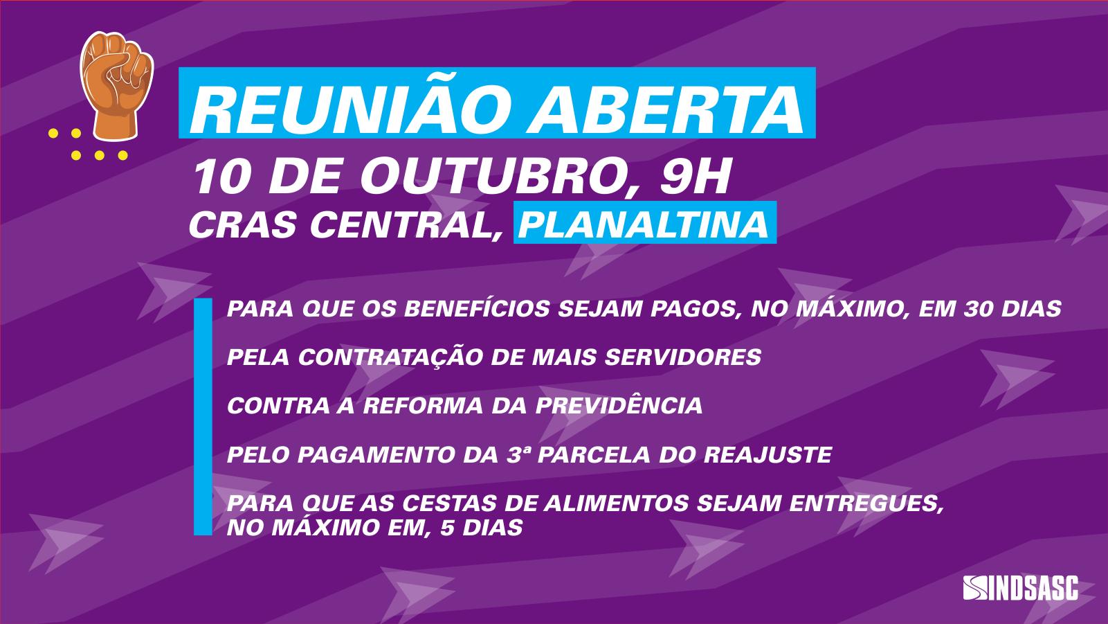 Sindsasc faz reunião aberta no Cras Central em Planaltina