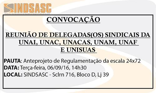 CONVOCAÇÃO - REUNIÃO DELEGADAS(OS) SINDICAIS