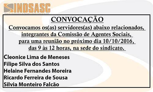 CONVOCAÇÃO -  REUNIÃO DA COMISSÃO DE AGENTES SOCIAIS