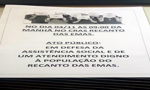 CRAS RECANTO FARÁ ATO EM DEFESA DA ASSISTÊNCIA SOCIAL