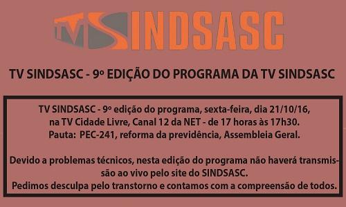 TV SINDSASC - 9º EDIÇÃO DO PROGRAMA DA TV SINDSASC
