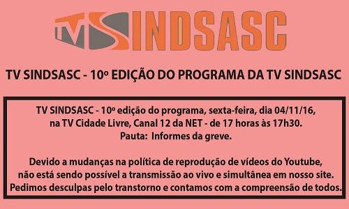 TV SINDSASC - 10º EDIÇÃO DO PROGRAMA DA TV SINDSASC