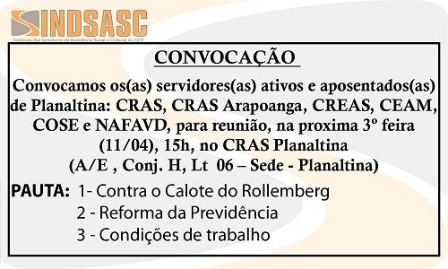 CONVOCAÇÃO - REUNIÃO PLANALTINA