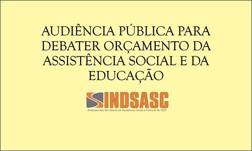 AUDIÊNCIA PÚBLICA PARA DEBATER ORÇAMENTO DA ASSISTÊNCIA SOCIAL E DA EDUCAÇÃO