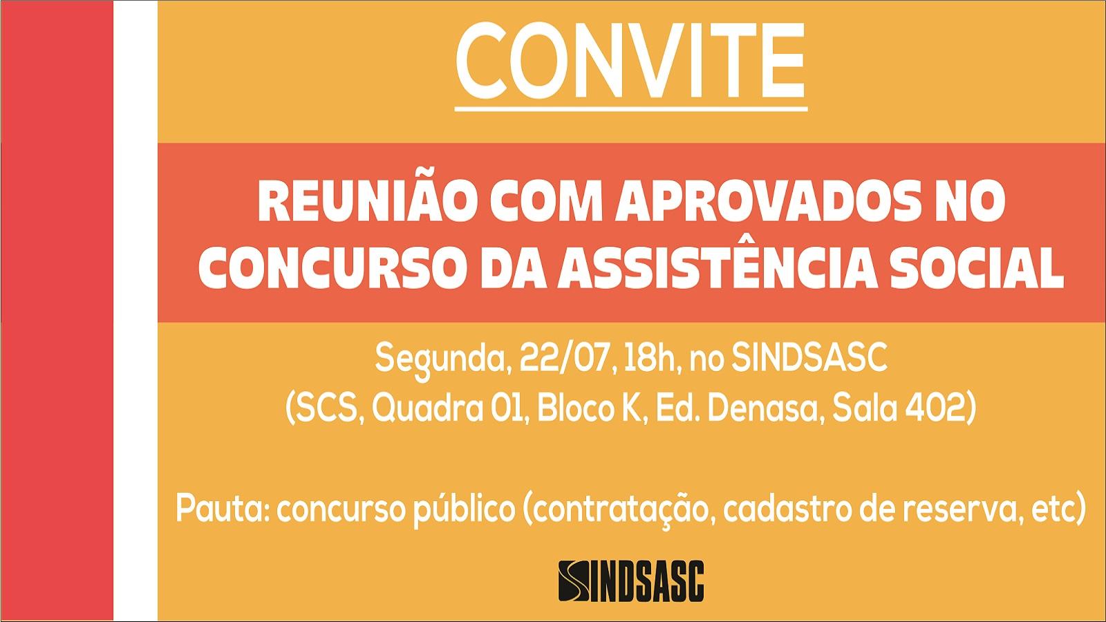 Convite - Reunião com os aprovados no concurso da assistência social